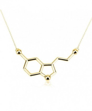 Art Attack Goldtone Serotonin Hormone Molecule DNA Chemistry Science Party Pendant Necklace - CS12HAL91VL