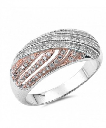 Rose Gold-Tone Vintage Clear CZ Cute Ring .925 Sterling Silver Band Sizes 5-10 - CF12JBXGXJZ