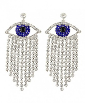 EVER FAITH Women's Austrian Crystal Evil Eye Tassel Curtain Chandelier Earrings Silver-Tone - Blue - CA11QKZNOTF