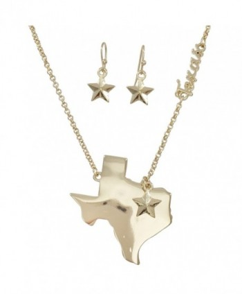 Texas State Shape Map Necklace & Earrings Set - CX12MGEW1BZ