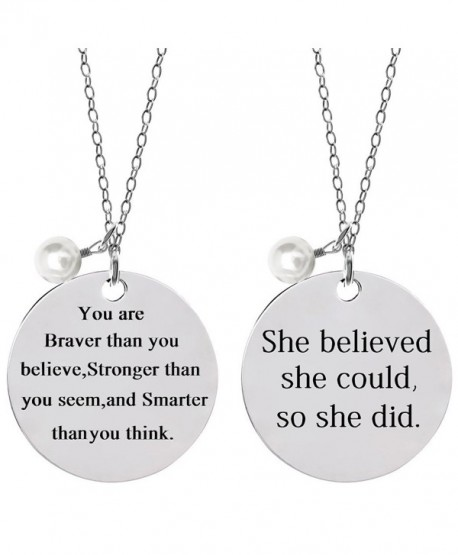 Bassion Stainless Inspirational Necklace Lettering - 2 Pcs - C21847NXOS7