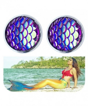 Sparkling Princess Mermaid Scales Earrings - Color 4 - C4189N556UE