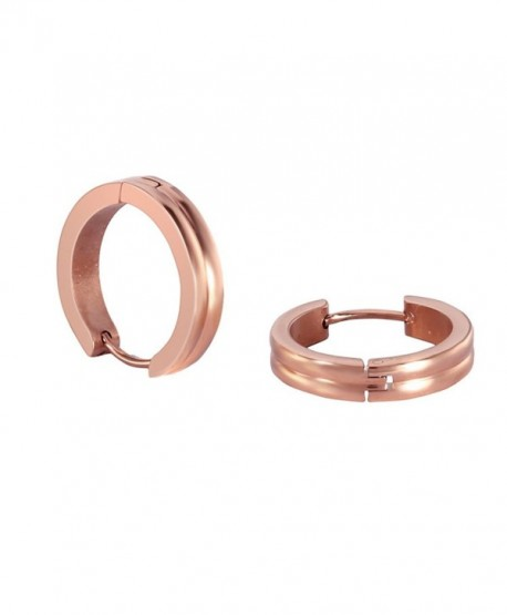 Stainless Steel Rose Gold Rounded Small Hoops Earrings for Womens Sensitive Ears - Rose gold - CX187R3LGR9