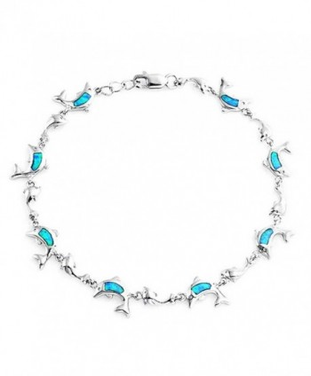 Bling Jewelry Synthetic Blue Opal Inlay Nautical Dolphin Link Bracelet Sterling Silver - C111JVORF65