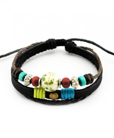 Victoria Echo Handmade Colorful Multi Stand Beads Braided Leather Wrap Bracelet Adjustable - green - C812JD47UQ7