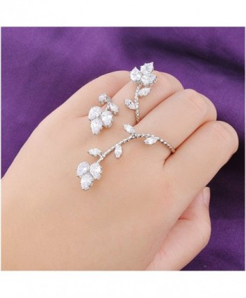 Dnswez Leaf Shape CZ Cubic Zirconia Cluster 2 Finger Ring Adjustable Size for Women Girl - C812DKPBZST