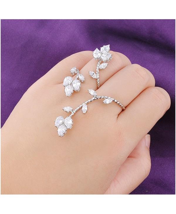 Dnswez Leaf Shape CZ Cubic Zirconia Cluster 2 Finger Ring Adjustable Size for Women Girl - C812DKPBZST