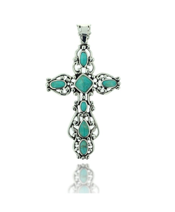 925 Oxidized Sterling Silver Decorative Gemstone Cross Pendant - Turquoise - CY11LBFTG5F