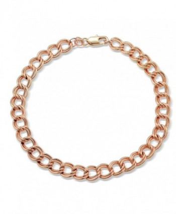 Bria Lou Chain Link Charm Bracelet- Silver- Gold- or Rose Gold Flashed- 7.5 Inches - CT12H3PCME3