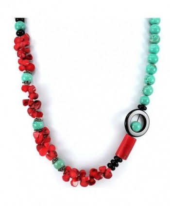 "001 Ny6design Blue Magnesite Turquoise- Red Coral & Black Onyx Beads Long Necklace 30"" N5040304e - CR1246414L1"
