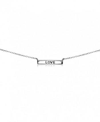 Sterling Silver Polished Love Inspirational Bar Dainty Choker Necklace - CN187QK5UQW