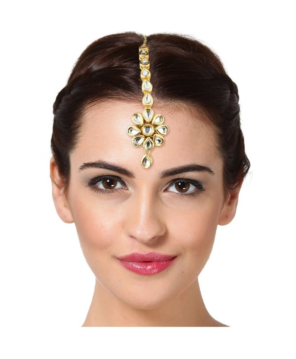 Indian Wedding Gold Plated Maang Tika Traditional Bridal Wear Forehead Jewelry - C2129AENM07