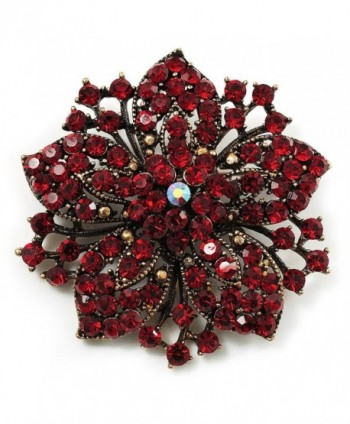 Victorian Corsage Flower Brooch (Burgundy Red & Antique Gold) - CD115BZYAER