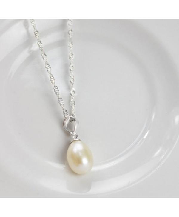 Merdia S925 Sterling Silver Drop Shape Pendant Necklace w/6.5mm Diameter Cultured Created Pearl - CD11EFCY5SJ