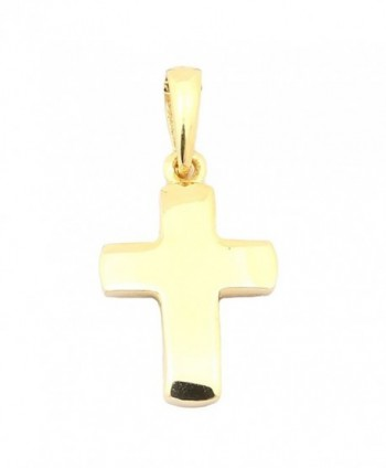 "14k Yellow Gold Small Block Cross Pendant Necklace- 13"" 15"" 16"" 18"" 20"" or 22"" - C012H3G6ZPJ"