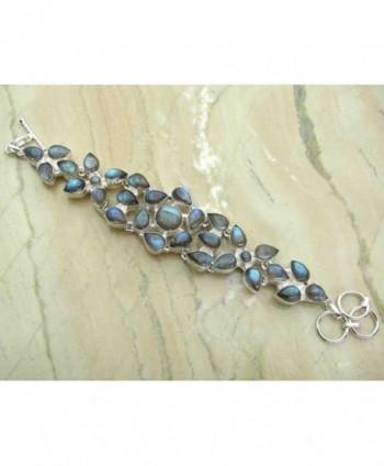 28.10ctw Genuine labradorite 925 Sterling Silver Overlay Handmade Fashion Bracelet Jewelry - C1127EQ36OB