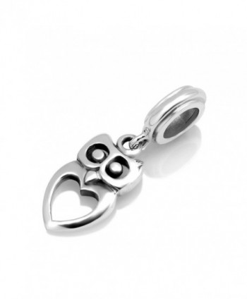 925 Sterling Silver Owl Heart Dangle Bead Charm Fit Major Brand Bracelet - C711H7GBSJ9