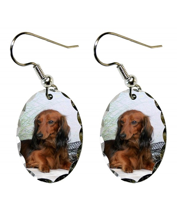 Canine Designs Dachshund Scalloped Edge Oval Earrings - CH117521FOX