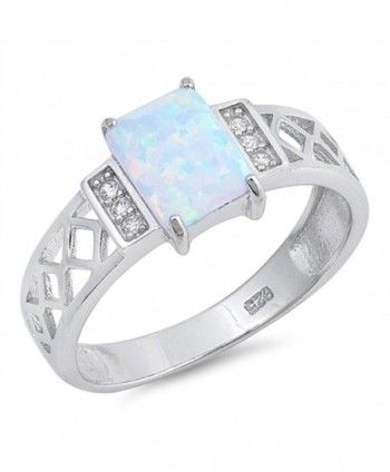 Rectangle White Simulated Opal Filigree Ring New .925 Sterling Silver Band Sizes 5-10 - C112O3BRX1G