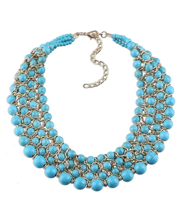 Weaving Turquoise Beads Statement Choker Necklaces for Women Blue Color Prow Jewelry - CG120TWJ871