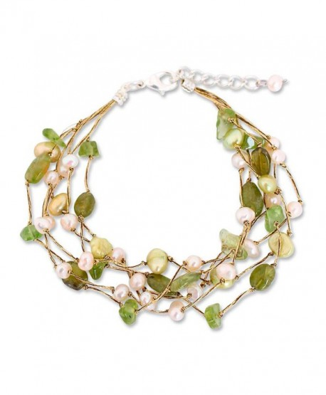 NOVICA Multi-Gem Peridot Cultured Freshwater Pearl Silver Plated Beaded Bracelet 'Cloud Forest' - CL11G3W6S7F