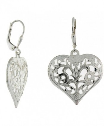 Sterling Silver Filigree Diamond-Cut Leverback Heart Earrings - CC12DSMLY8Z