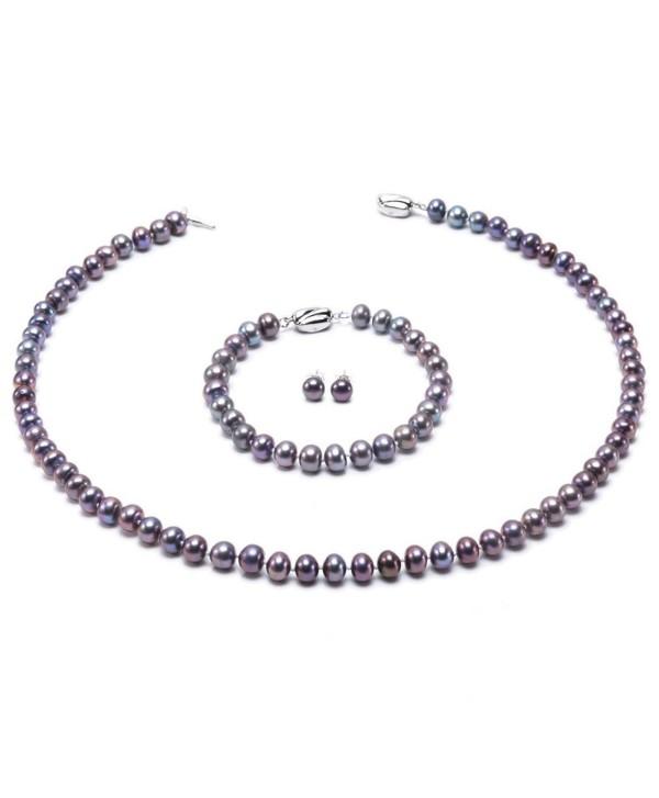 JYX Classic 7-8mm Dark-purple Cultured Freshwater Pearl Necklace Bracelet Earrings Jewelry Set - CM12OCLWX7Y