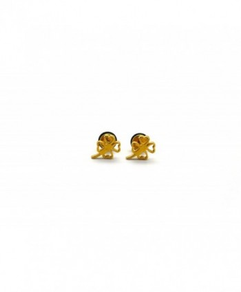 Chelsea Jewelry Basic Collections Clover Leaf Shaped Stud screw-back Earrings - Yellow Gold - CV12EE0BFQ1