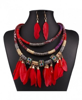 XY Fancy Feather Pendant Multi Layers Tribal Bib Necklace Statement Earring Jewelry Set - Red - CN12BISQZK3