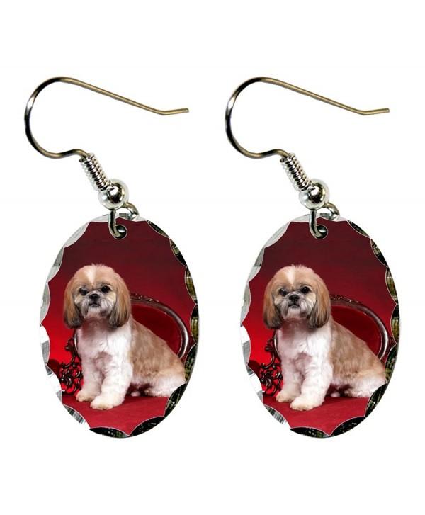Canine Designs Shih Tzu Scalloped Edge Oval Earrings - CR117522ROZ