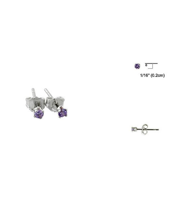 2MM Purple Simulated Amethyst Tiny Round 925 Sterling Silver Solitaire Stud Post Earrings - C412FL7U9A3