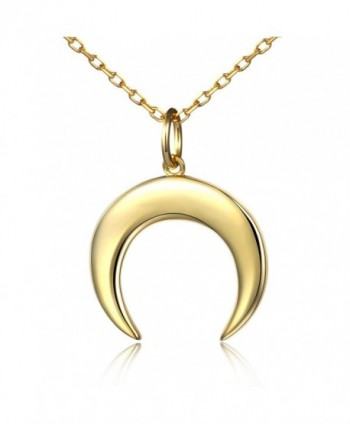 Women Crescent Moon Necklace Moon And Horn Minimalist Jewelry - Golden - CW185W39YGX
