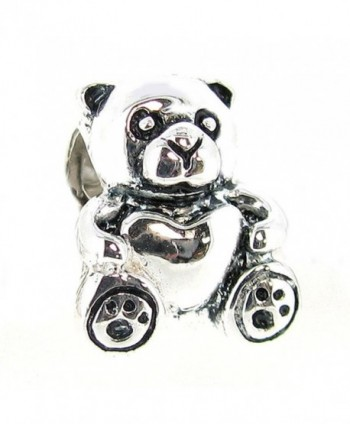 Sterling Silver Teddy Bear Heart European Bead Charm - C9115AUBSZR
