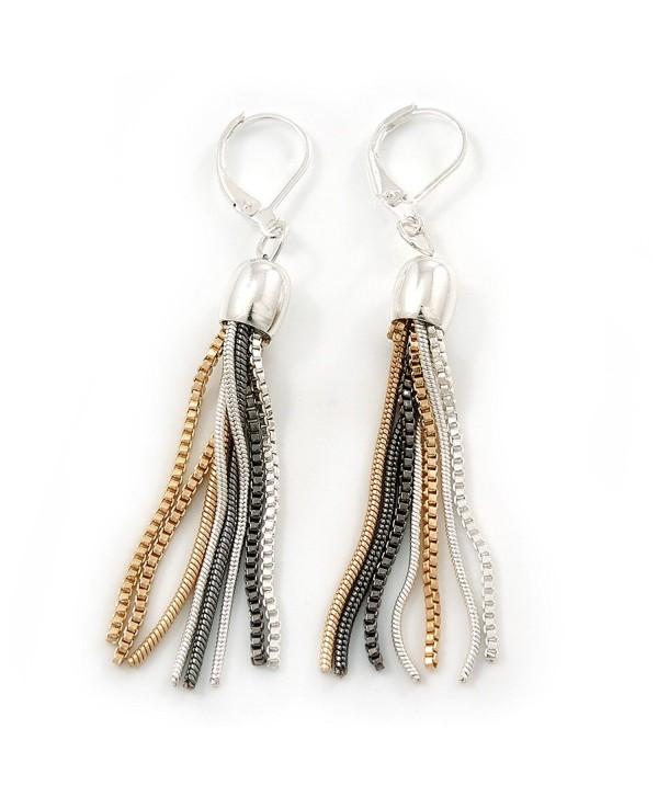 Stylish Tassel Earrings With Leverback Closure (Silver/ Gold/ Gun Metal) - 65mm L - CJ11PRV8H0J