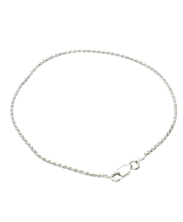 Sterling Silver 1.5mm Diamond-Cut Rope Nickel Free Chain Anklet Italy - C817YEUNT0Q
