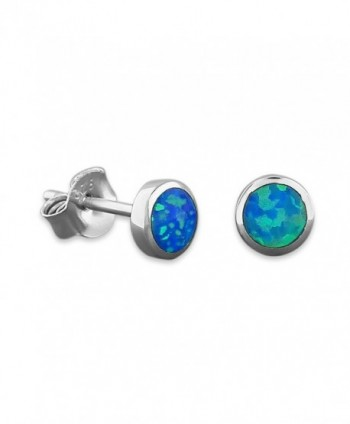 Sterling Silver Synthetic Blue Opal Circle Stud Earrings Mini XS 5mm - CQ11H5P9GKF