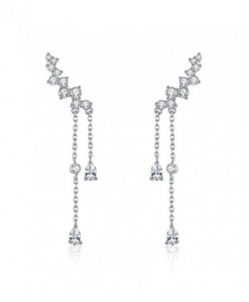 Chicinside CZ Crystal Ear Cuff Climbers Dangle Earrings Silver Tone - C5187ZIEXNK
