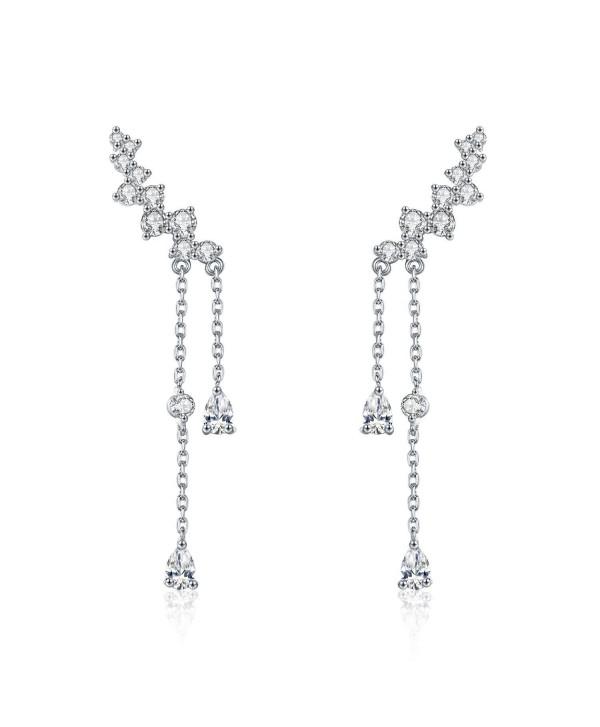 Chicinside CZ Crystal Ear Cuff Climbers Dangle Earrings Silver Tone - C5187ZIEXNK