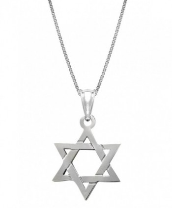 "Sterling Silver Jewish Star of David Necklace Pendant with 18"" Box Chain - CA11G12ZVWZ"