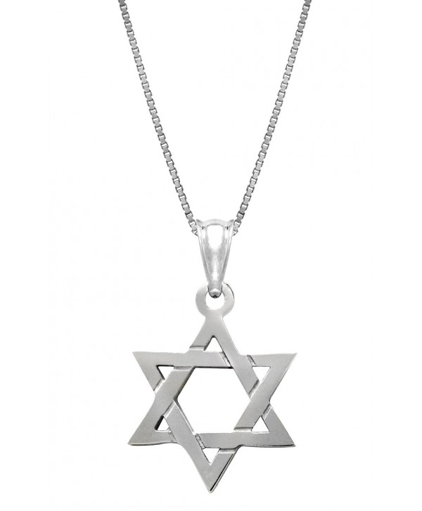 """Sterling Silver Jewish Star of David Necklace Pendant with 18"""" Box Chain - CA11G12ZVWZ"""