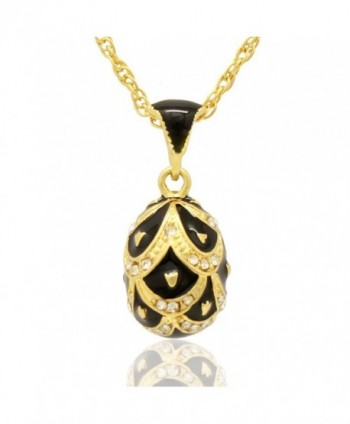 MYD Jewelry Hand Enameled Pretty Russian Faberge Style Crystal Easter Egg Pendant Necklace - Black - CY12G98JLFN
