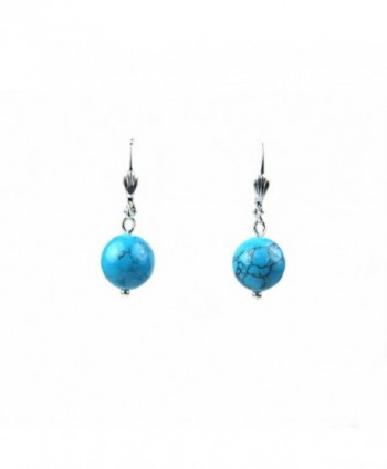 Composed Blue Turquoise Round Bead Leverback Earrings Assembled in the U.S.A. - CJ12JK96FVV