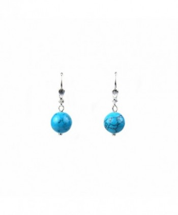 Composed Turquoise Leverback Earrings Assembled