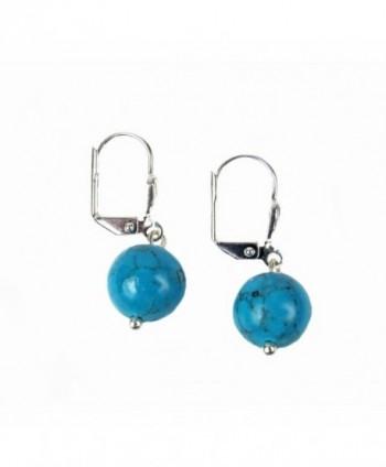 Composed Turquoise Leverback Earrings Assembled in Women's Drop & Dangle Earrings