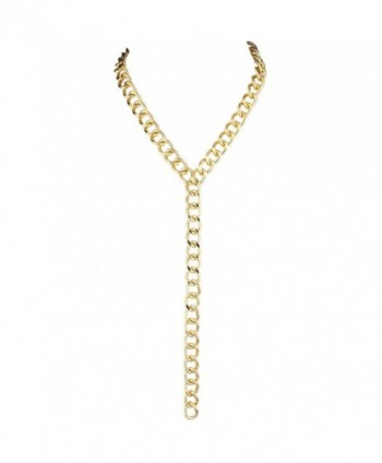 Lux Accessories Goldtone Heavy Curb Chain Y Shaped Necklace - C712LQ1P4QN
