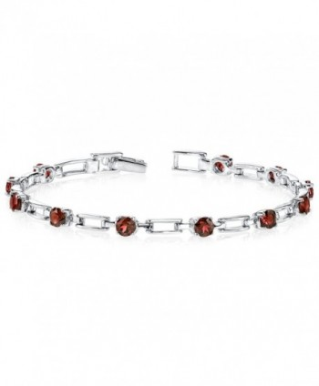Garnet Bracelet Sterling Silver Rhodium Nickel Finish 3.50 Carats Chic Design - C11141DWWC3
