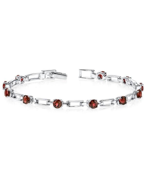 Garnet Bracelet Sterling Silver Rhodium Nickel Finish 3.50 Carats Chic Design - C11141DWWC3