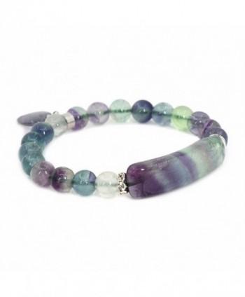 Justinstones Gem Semi Precious Gemstone Love Heart Charm Stretch Beaded Bracelet Unisex - Fluorite - C512NA57EOK