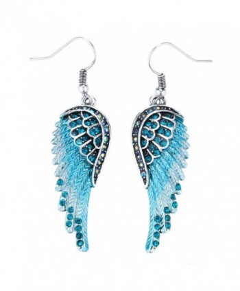 Szxc Jewelry Women's Crystal Angel Wings Dangle Earrings Biker Jewelry - blue - C417YG5877Q