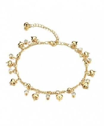 "Fate Love Jewelry Women's 18k Gold Plated Crystal Small Bell Foot Chain Anklet Adjustable Fit 8"" to 10.2"" - CL12HDBOCBN"
